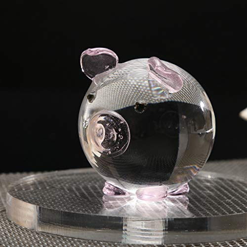 Uplord Crystal Pig Figurine Collection Cut Glass Animal Statue Ornament,Multi-Color Crystal Pig Figurine Mini Animal Collectible Statue Family Decoration (Pink)