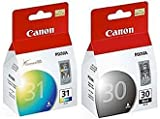 Pack Canon PG-30 Black and CL-31 Color Printer Ink Cartridges PG30 CL31