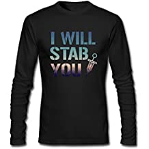 Men Colorful I Will Stab You Nurse Needle Long Sleeve Athletic Cotton Crew Neck T-Shirt