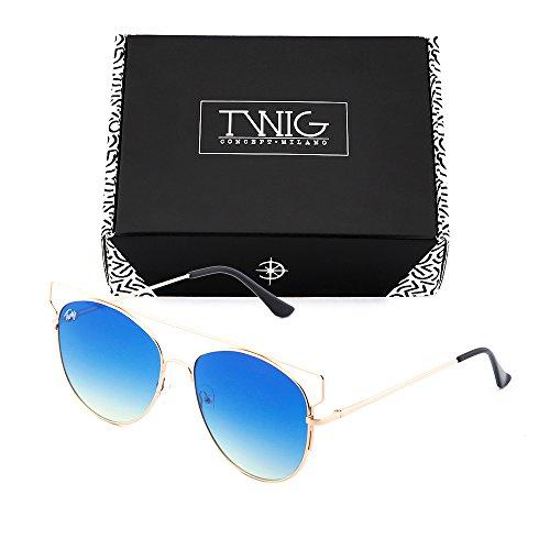 Degradado sol TZARA mujer Azul TWIG Bronce Gafas espejo de degradadas z7xUwU