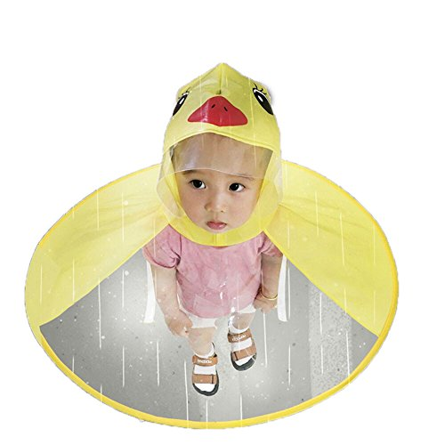 ASfairy Children Cute Cartoon Duck Rain Coat, UFO Umbrella Hat Magical Hands Free Raincoat US Stock (M, Yellow)