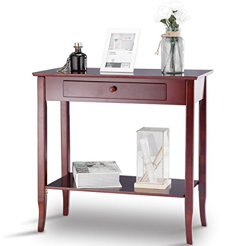KCHEX>>Console Table Classic 2 Tier Porch Table Lower Shelf Drawer Cherry ColoThis is a Classic Rectangle Porch Table with 2-Tier Design (Classic Console Table)