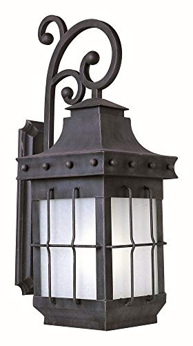Maxim 86085FSCF Nantucket EE 1-Light Outdoor Wall Lantern, Country Forge Finish, Frosted Seedy Glass, GU24 Fluorescent Fluorescent Bulb , 40W Max., Wet Safety Rating, Standard Dimmable, Glass Shade Material, 1344 Rated Lumens