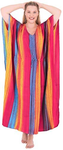 LA LEELA Rayon Tie_Dye Long Caftan Dress Women Dark Pink_1337 OSFM 12-20W [L-2X]