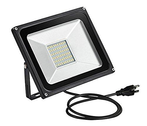US 3-Plug LED Flood Light,chunnuan, 10W 20W 30W 50W 100W ,2800-3200K (Warm White ), IP65 Waterproof ,Aluminium Strahler,Super Bright Waterproof Security Floodlight,US 3-Plug,110V (Street 100 Watt 3 Light)
