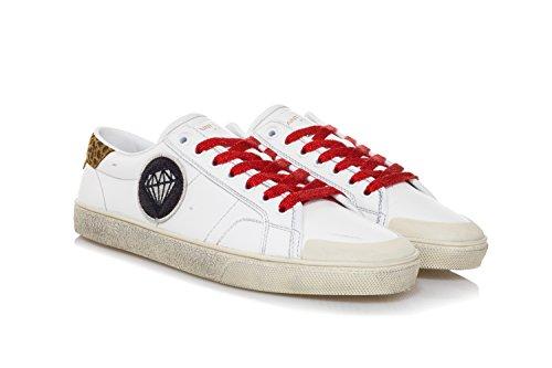 Court Laurent Scarpe Pelle in Signature Bianco Saint SL Uomo Classic 37 Sneakers 5XdqxvFzw