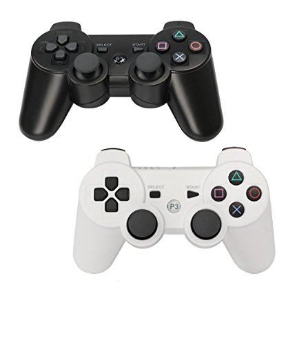 HBetterTech PS3 Controller 2 Pack Wireless Six Axis PlayStation 3 Dualshock 3 Controller (White Playstation 3)