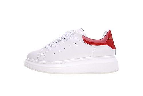 prezzo competitivo 3855f 8a36c Donna Pelle Bianco Sneakers Casuale Scarpe - Sportive Running Scarpe da  Ginnastica Corsa - Interior Casual all'Aperto Basket(Rosso)