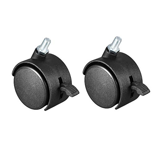 2 Pcs 1.5 Inch Office Chair Casters Nylon Twin Wheel with Brake,Threaded Stem Mount Swivel Caster ()