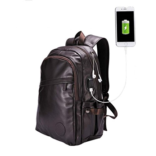 UKXMNC Men Backpacks Leather Laptop Bagpack Men's External Usb Port Backpack School Bag Sac with usb port1 14 Inches