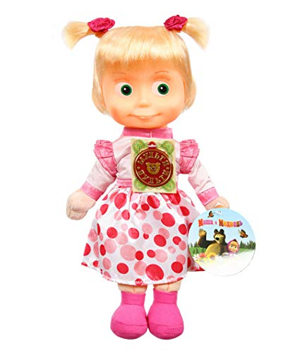 Masha and the Bear Doll 11.4 inch Russian Language Talking and Singing Toy Pink Dress The Famous Cartoon, Musical Toy, a Soft Gift, Girl, Birthday Interactive Developmental from Masha and the Bear