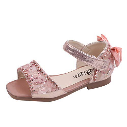 Respctful✿Girl's Fashion Dance Sandals Summer Open Toe Rhinestone Ankle Strap Dress Sandal Shoes for Kids Pink