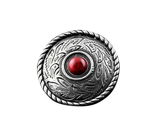 Biker Concho (Screw Eye - Steel Fashion Leather wallet bag Biker Red onyx metal concho button with Screw)