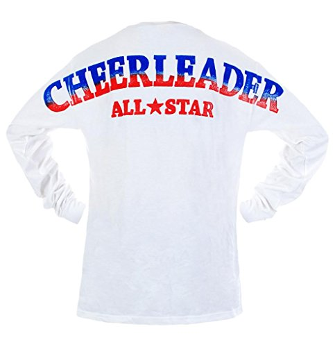 [Youth Cheerleader All Star Stadium Jersey T Shirt White Large] (Kids Greek Outfit)