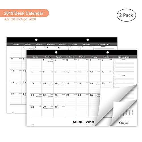 TOWWI April 2019 - September 2020 Year Monthly Desk Pad Calendar, 16.8