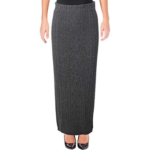 (LAUREN RALPH LAUREN Womens Wool Blend Cable Knit Maxi Skirt Gray XL)