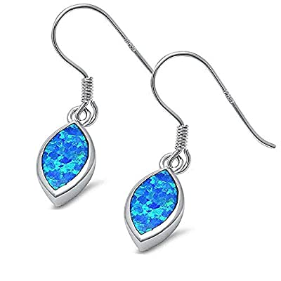 top Brightt Marquise Shape Blue Opal Dangle Style .925 Sterling Silver Earring