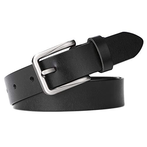 Women Leather Belt for Jeans Pants Plus Size Western Design Belt Alloy Buckle Suit Pants Size 21-24 Inches, 3-Black (24 Size Womans Belt)