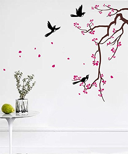 PopDecors Wall Decals & Stickers - Cherry Blossom Branch (Dark Brown, Hot Pink and Black) - Flower Wall Art for Bedroom Living Room Custom Removable Vinyls PT-0228-FBA