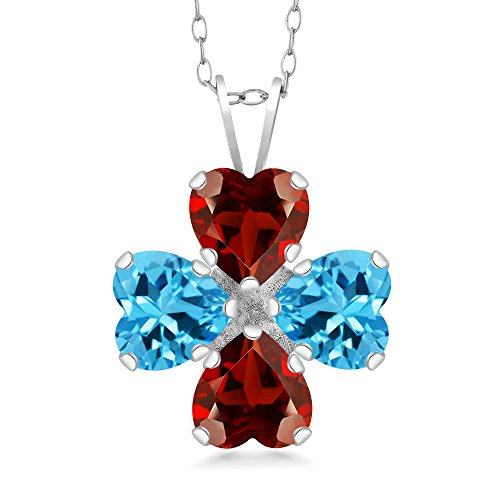 Gem Stone King 3.80 Ct Heart Shape Red Garnet Swiss Blue Topaz 925 Sterling Silver Pendant 18