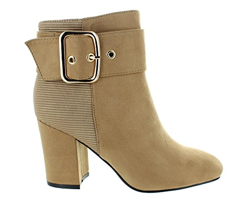 Camel Faux Heeled Urban Heels Suede Ankle Women's Boots Casual wRROqnTx8