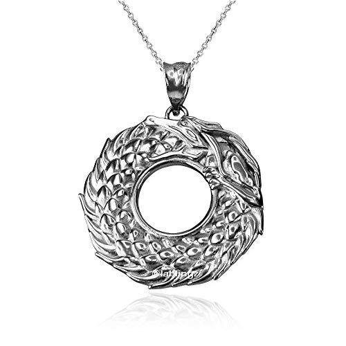 - LA BLINGZ 10K White Gold Ouroboros Dragon Pendant Necklace (16)