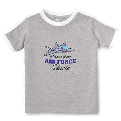 Proud of My Air Force Uncle Short Sleeve Crewneck Boys-Girls Toddler Cotton Soccer T-Shirt Sports Jersey - Oxford Gray, 2T