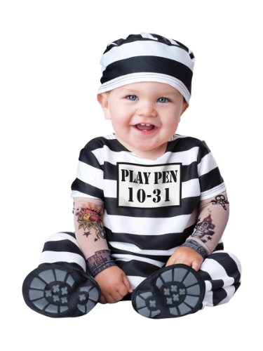 InCharacter Costumes Baby's Time Out Convict Costume, Black/White, Medium(12 -18 Mos) (Time For Halloween)