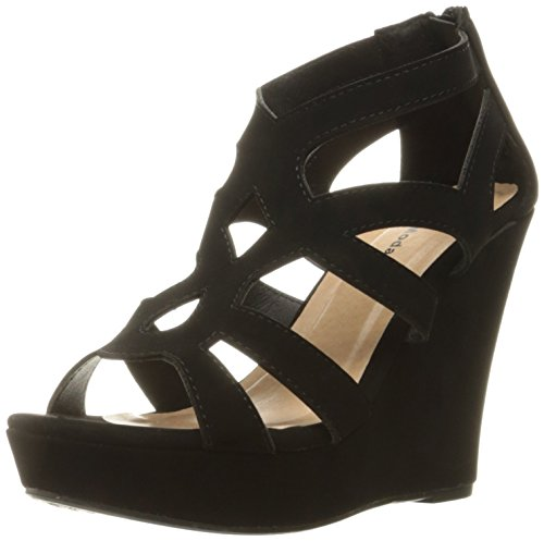 Black Wedge Heel - Top Moda Womens Ella-15 Fashion Wedge Sandals, Black 8