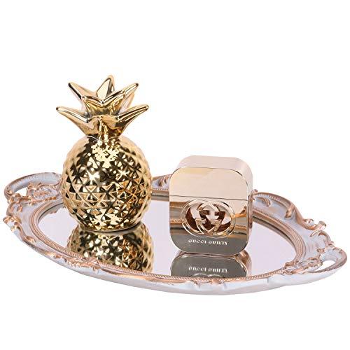 Yujiko Mirrored Tray,Decorative Mirror Tray Vantity Tray Antique Tray for Perfume Cosmetics Makeup Storage Organizer and Display,Dresser Jewelry Organizer,Serving Tray,9.8inchx 14inch (Golden Gray) (Dresser Handles Decorative)
