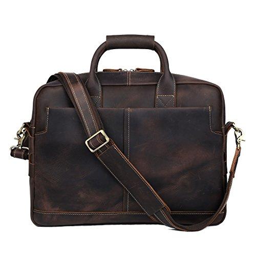 BAIGIO Men Retro Leather Briefcase Laptop Computer Office Business Shoulder Tote Messenger Bag (Dark Brown) by BAIGIO (Image #1)