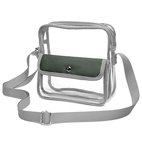 iSPECLE Clear Stadium Bag, Clear Purse Approved for NFL, PGA, NCAA, Casino, Adjustable 4.92ft Shoulder Strap, Grey