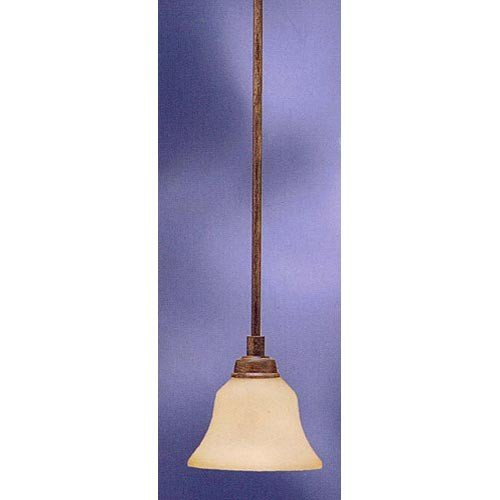Kichler 3482CST Langford 1LT Mini-Pendant, Canyon Slate Finish with Dusty Citrine Glass - Dusty Citrine Glass