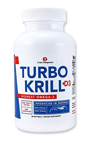 3Care Turbo Krill 2050mg Enriched Pure Krill Oil plus 1000 IU Vitamin D Omega 3 Supplement 60 count Softgels by 3Care
