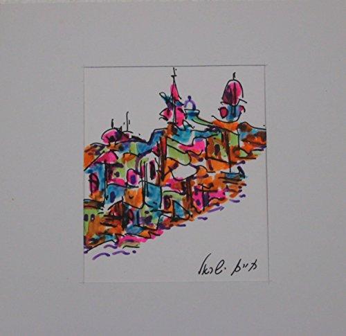 Original miniature pen drawing - Jerusalem landscape - 1