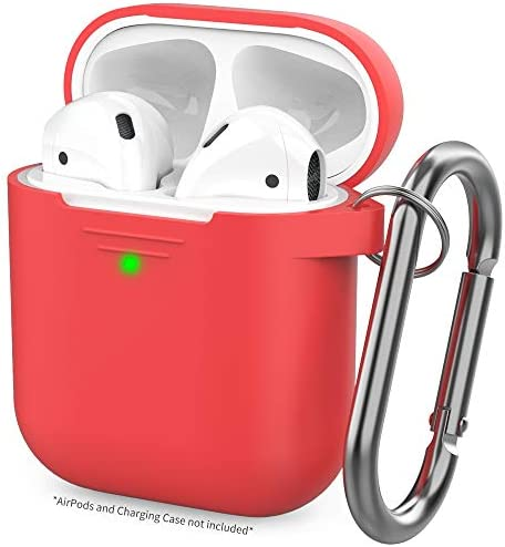 AhaStyle Upgraded AirPods Case Cover [Hand Strap Included] Silicone Protective Cover Skin Compatible with AirPods 2 & 1(Red)