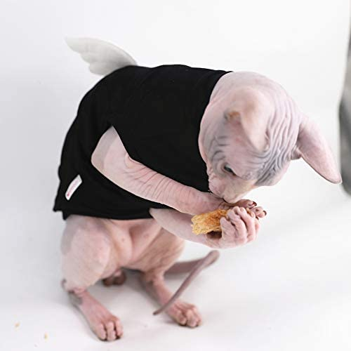 Sphynx Hairless Cat Cute Breathable Summer Cotton Dress Skirt Shirts with Wings Pet Clothes,Round Collar Kitten T-Shirts with Sleeves, Cats & Small Dogs Apparel 28