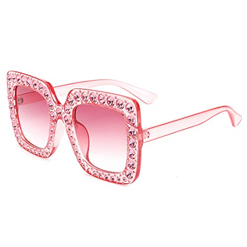 (ROYAL GIRL Sunglasses For Women Oversized Square Luxury Crystal Frame Brand Designer Fashion Glasses (Pink-Gradient,)