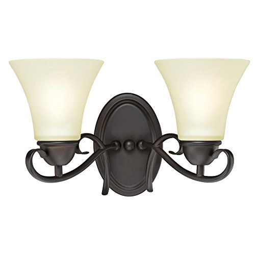 (Westinghouse Lighting 6306800 Dunmore Two-Light Indoor Wall Fixture, Oil Rubbed Bronze Finish with Frosted Glass,)