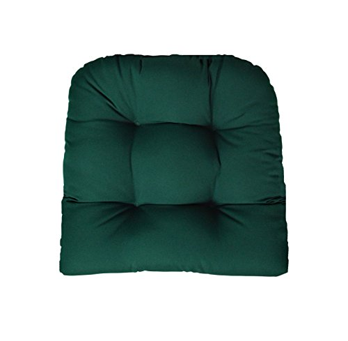 RSH Decor Sunbrella Canvas Forest Green Wicker Chair Cushion - Indoor/Outdoor 1 Tufted Wicker Chair Seat Cushion - -