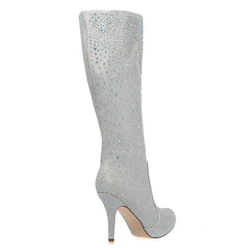 V-luxury Para Mujer 23-robin98 Cerrado Dedo Del Pie Rhinestone Rodilla Alta Tacón De Aguja Plataforma Bota Zapatos, Plata Brillo Plata