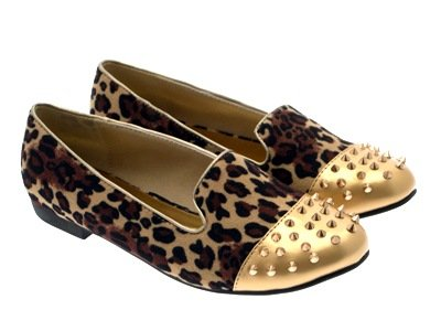 SLIPPERS NEW 3 SPIKE STUDDED LADIES WOMENS MUKES LD 8 PUMPS GIRLS Outlet SHOES Suede Leopard FLATS LOAFERS STUDS BALLET ZqYf5w5