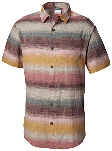 (Columbia Men's Under Exposure Yarn Dye Short Sleeve Shirt, Rose dust Stripe XL)