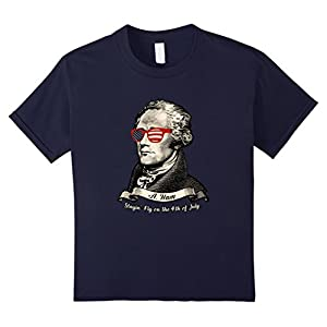 unisex-child Fancy 4th of July A. Hamilton In US Flag Sunglasses Shirt 6 Navy