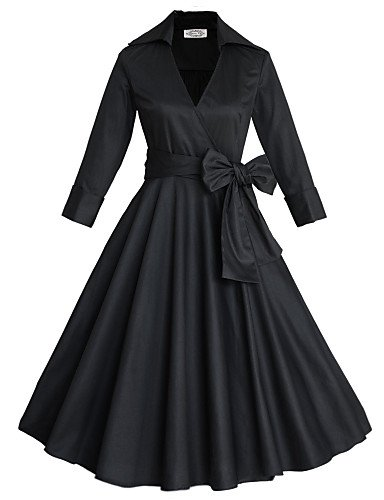 PU&PU Robe Aux femmes Grandes Tailles Grandes Tailles / Vintage / Soirée / Travail / Décontracté , Couleur Pleine V Profond MidiCoton / , khaki-m , khaki-m