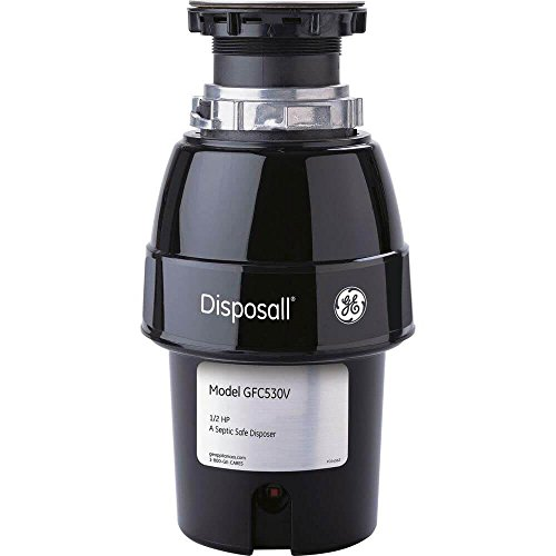General Electric GFC530V 1/2 Horsepower Deluxe Continuous Feed Disposall Extra-Large Capacity Food Waste Disposer, Black