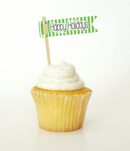 """Happy Holidays"" Cupcake Topper / Beverage Mixer, Green (Set of 12) – Christmas Parties, Holiday Mixers & Santa Party"