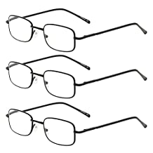 Zhhlinyuan 3 Pairs of Fashion Men Women Reading Glasses Metal Square for Elderly