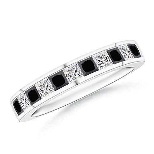 (Princess-Cut White & Enhanced Black Diamond Half Eternity Band in Platinum (2.4mm Enhanced Black Diamond))