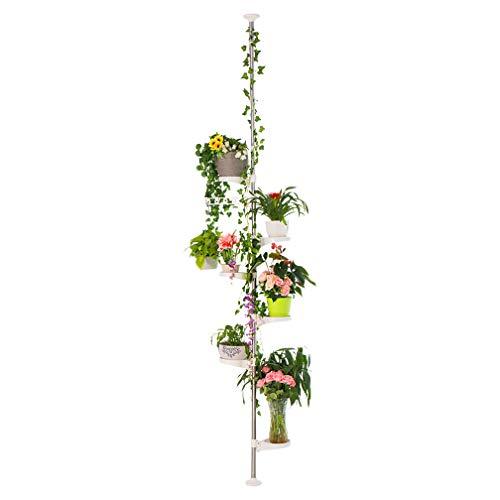 Hershii 7-Layer Tension Pole Plant Stand Indoor Decorative Metal Flower Pot Holder Display Rack Floor to Ceiling Adjustable Hanging Corner Shelf Space Saver - Ivory (Floor To Ceiling Pole Shelves)